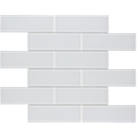 MTO0313 Modern 2X6 Subway White Glossy Glass Mosaic Tile - Mosaic Tile Outlet