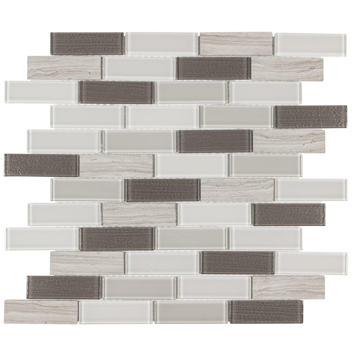 Linear Gray White Beige Marble And Glass Mosaic Tile Mto0316