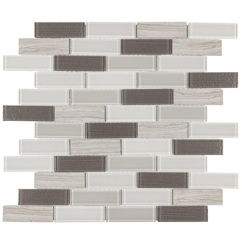 MTO0316 Modern Linear Gray White Metallic Beige Glossy Glass Stone Mosaic Tile - Mosaic Tile Outlet