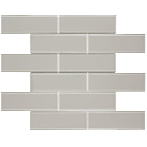 MTO0317 Modern 2X6 Subway Beige Glossy Glass Mosaic Tile - Mosaic Tile Outlet
