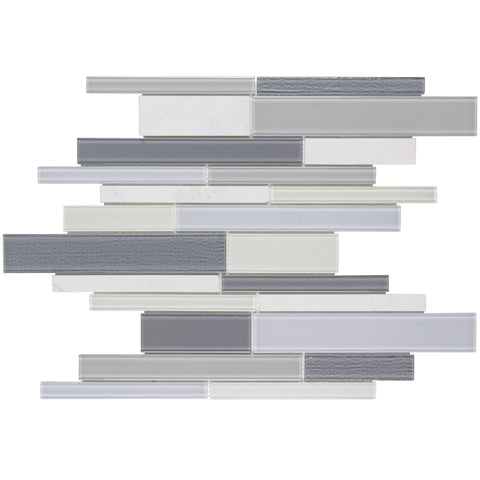 MTO0318 Modern Linear Gray White Glossy Glass Stone Mosaic Tile - Mosaic Tile Outlet