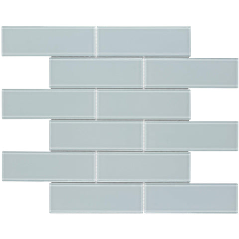 MTO0319 Modern 2X6 Subway Blue Glossy Glass Mosaic Tile - Mosaic Tile Outlet