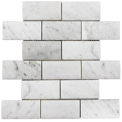 MTO0323 Classic 2X8 Pillowed Subway White Polished Carrara Marble Mosaic Tile - Mosaic Tile Outlet