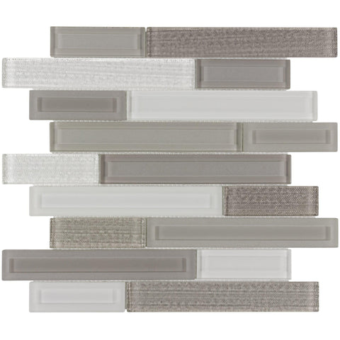 MTO0324 Modern Linear Gray White Beige Glass Glossy Glass Mosaic Tile - Mosaic Tile Outlet
