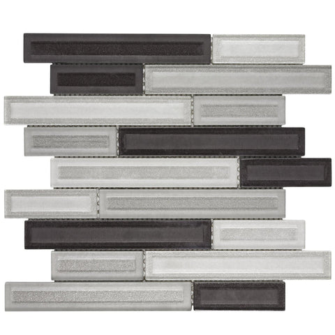 MTO0325 Modern Linear Dark Gray White Glossy Glass Mosaic Tile - Mosaic Tile Outlet