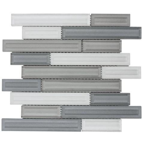 Front Modern Linear Grey White Glass Mosaic Tile