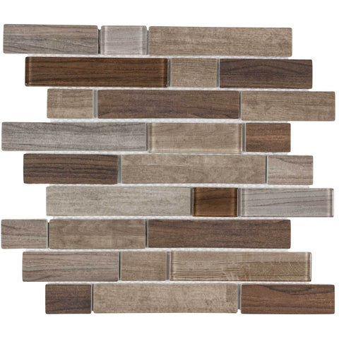 MTO0332 Modern Linear Brown Glossy Wood Grain Recycled Glass Mosaic Tile - Mosaic Tile Outlet