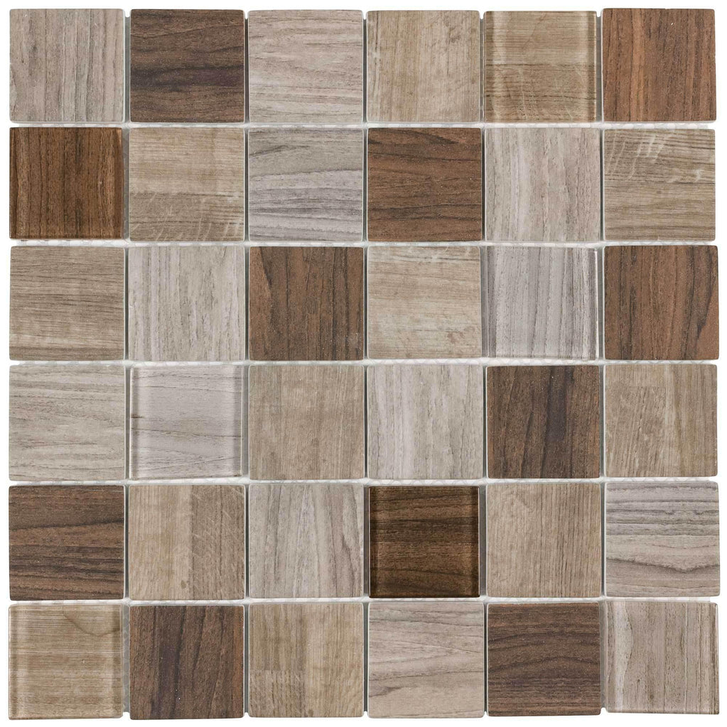 - 2x2 Squares Mosaic Brown Wood Recycled Glass Tile MTO0333
