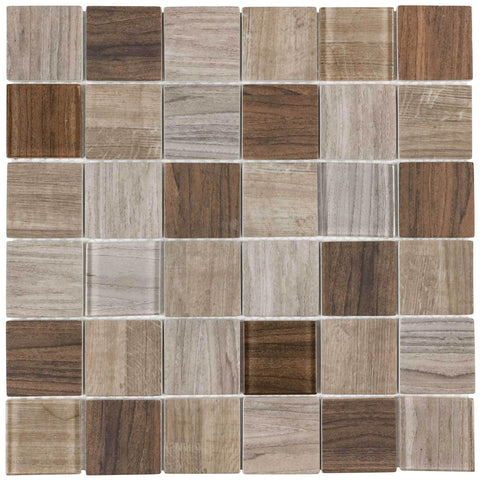 MTO0333 Modern 2X2 Squares Brown Glossy Wood Grain Recycled Glass Mosaic Tile - Mosaic Tile Outlet