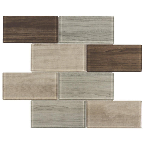 MTO0334 Modern 3X6 Subway Brown Glossy Wood Grain Glass Mosaic Tile - Mosaic Tile Outlet