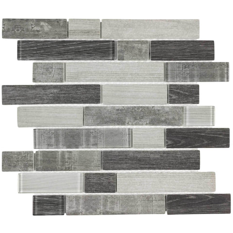 MTO0335 Modern Linear Gray Glossy Wood Grain Recycled Glass Mosaic Tile - Mosaic Tile Outlet