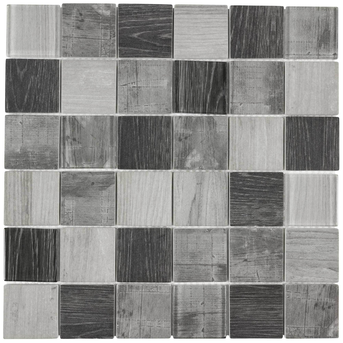2x2 Squares Gray Wood Grain Glass Mosaic Tile Mto0336