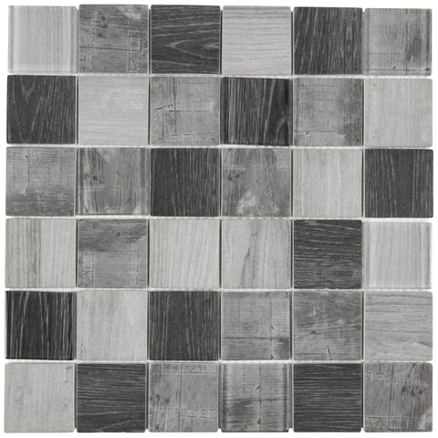 MTO0336 Modern 2X2 Squares Gray Glossy Wood Grain Recycled Glass Mosaic Tile - Mosaic Tile Outlet