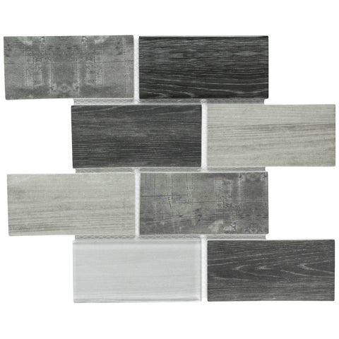 MTO0337 Modern 3X6 Subway Gray Glossy Wood Grain Recycled Glass Mosaic Tile - Mosaic Tile Outlet