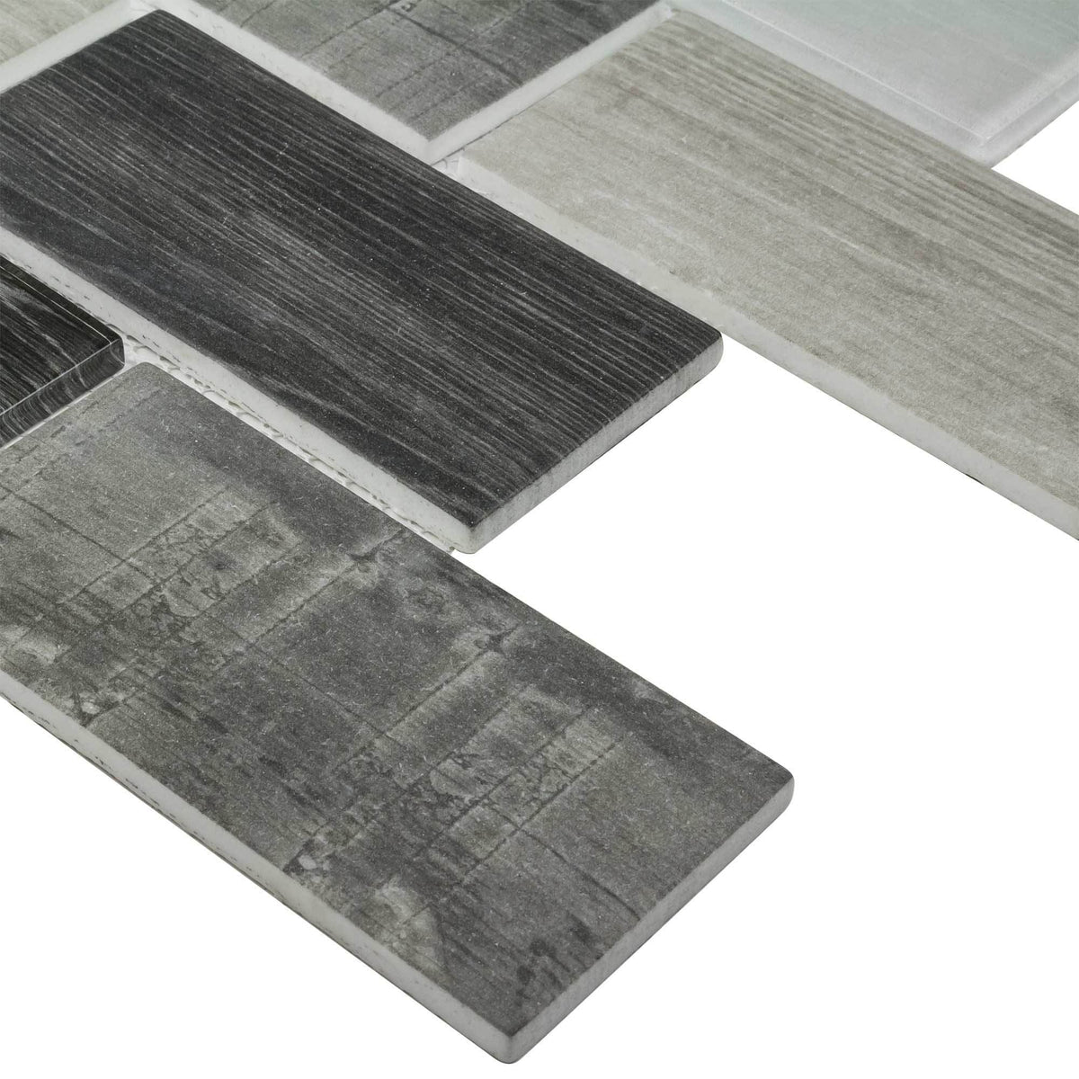 Gray Wood Recycled Glass 3x6 Subway Mosaic Tile Mto0337