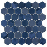 MTO0338 Modern Hexagon Blue Bold Glossy Metallic Glass Mosaic Tile - Mosaic Tile Outlet