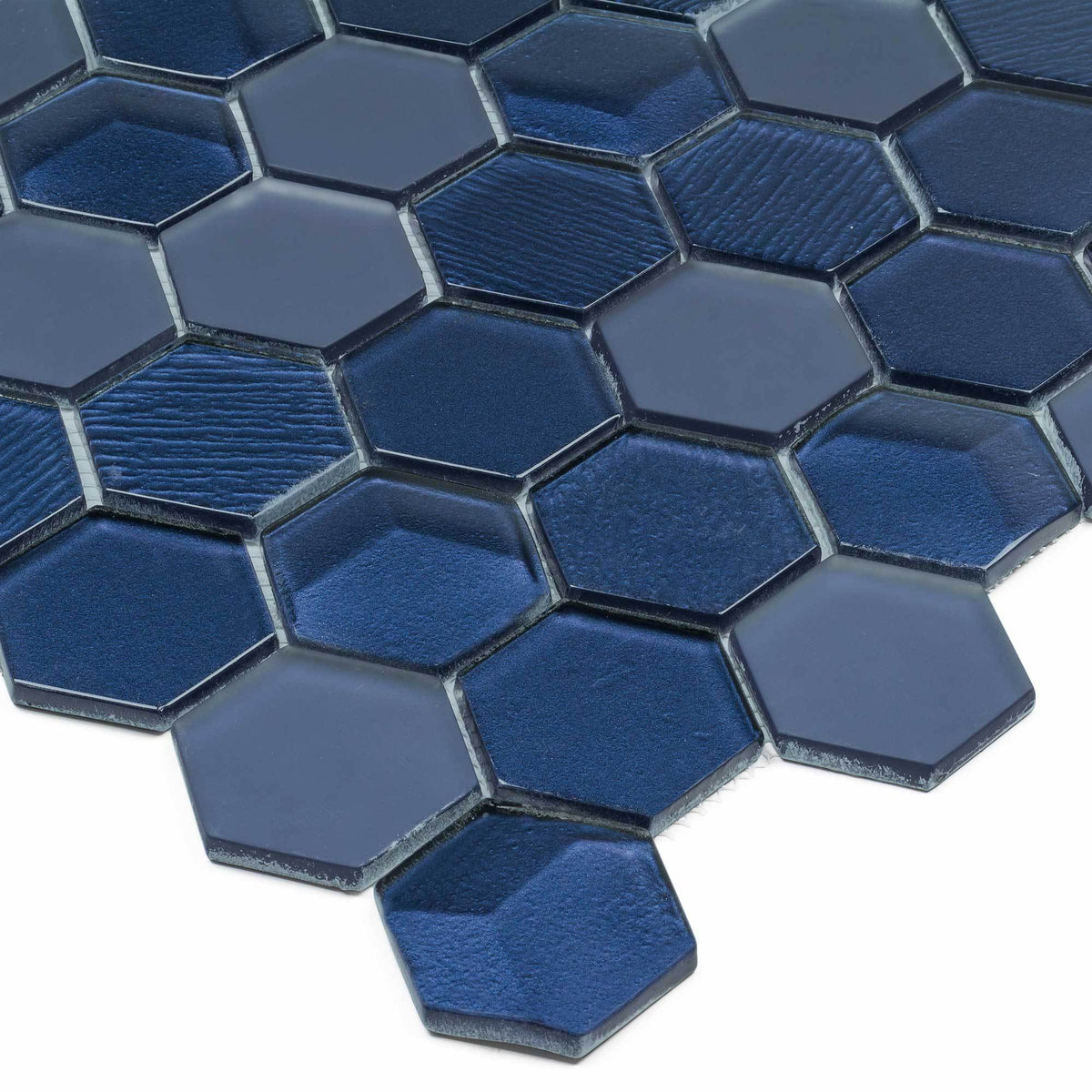 Hexagon Mosaic Bold Glossy Blue Metallic Glass Tile Mto0338