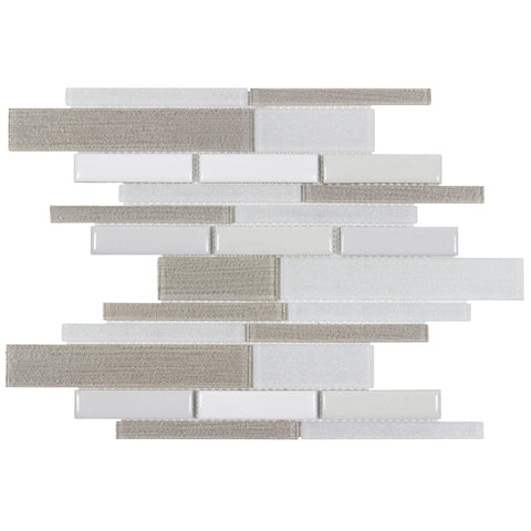 MTO0339 Modern Linear Beige White Glossy Metallic Glass Porcelain Mosaic Tile - Mosaic Tile Outlet