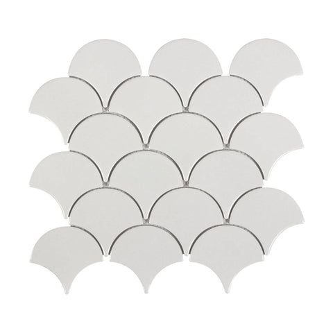 MTO0341 Modern Fan Fish Scale White Gray Glossy Porcelain Mosaic Tile - Mosaic Tile Outlet