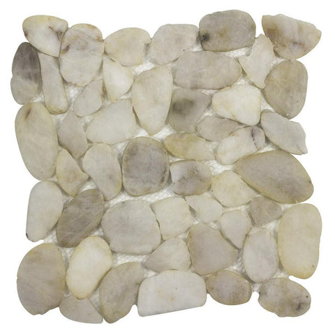 MTO0342 Modern Pebble White Natural Stone River Rocks Mosaic Tile - Mosaic Tile Outlet