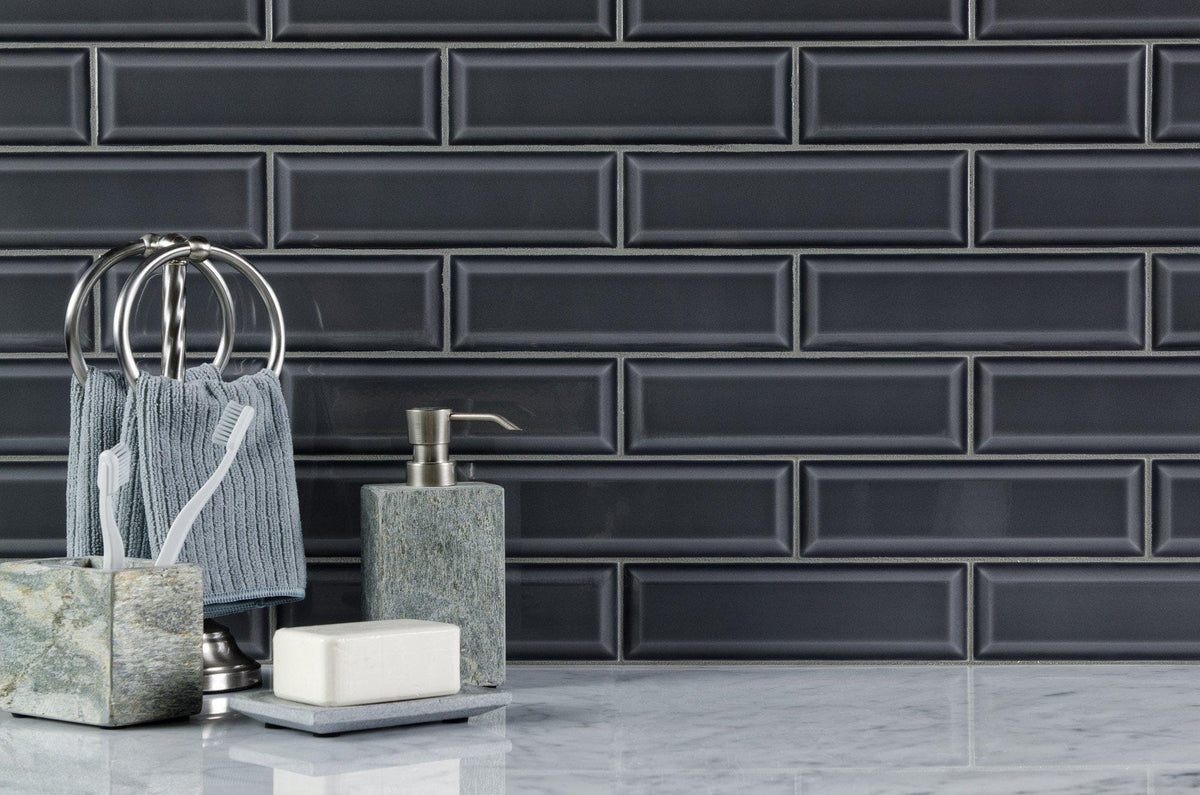 Mto0348 Modern 3x10 Subway Charcoal Gray Glazed Ceramic Tile