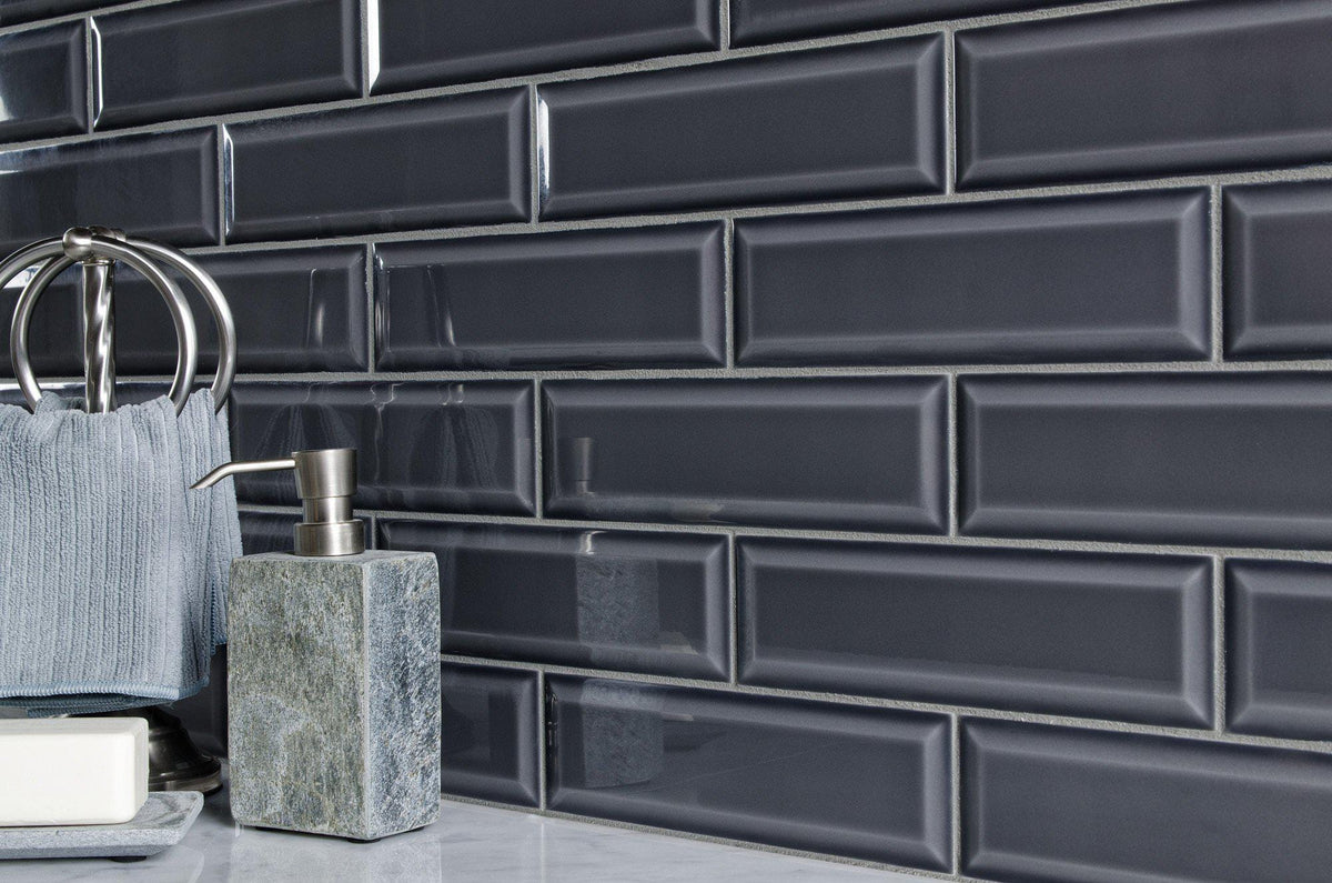 Modern 3x10 Charcoal Gray Glazed Ceramic Subway Tile Mto0348