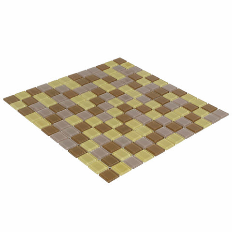 MTO0356 Modern 1X1 Stacked Squares Orange Purple Red Frosted Glass Mosaic Tile - Mosaic Tile Outlet