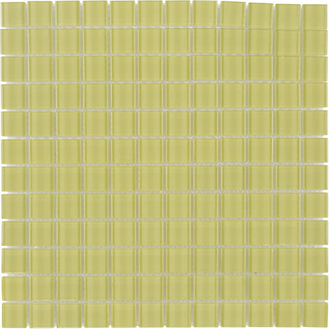 MTO0358 Modern 1X1 Stacked Squares Yellow Glossy Glass Mosaic Tile - Mosaic Tile Outlet