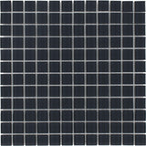 Front Modern Uniform Squares Black Glass Mosaic Tile