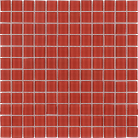Front Modern Uniform Squares Red Glass Mosaic Tile
