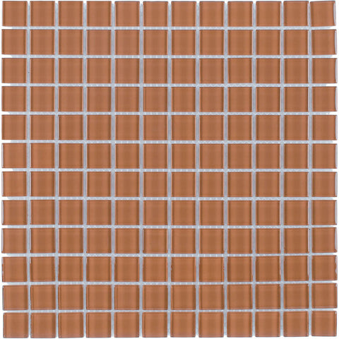 MTO0362 Modern 1X1 Stacked Squares Burnt Orange Glossy Glass Mosaic Tile - Mosaic Tile Outlet