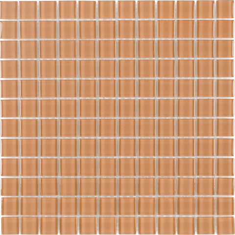 MTO0363 Modern 1X1 Stacked Squares Orange Glossy Glass Mosaic Tile - Mosaic Tile Outlet