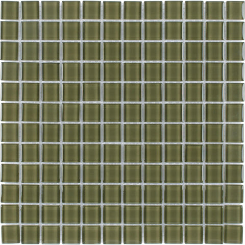 MTO0364 Modern 1X1 Stacked Squares Dark Green Glossy Glass Mosaic Tile - Mosaic Tile Outlet