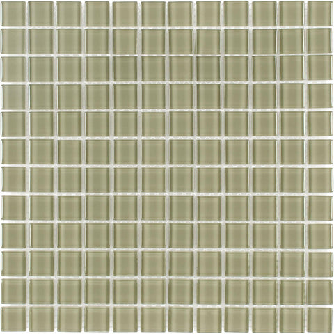 MTO0365 Modern 1X1 Stacked Squares Light Green Glossy Glass Mosaic Tile - Mosaic Tile Outlet
