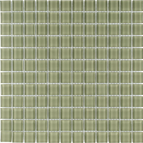 MTO0366 Modern 1X1 Stacked Squares Green Glossy Glass Mosaic Tile - Mosaic Tile Outlet
