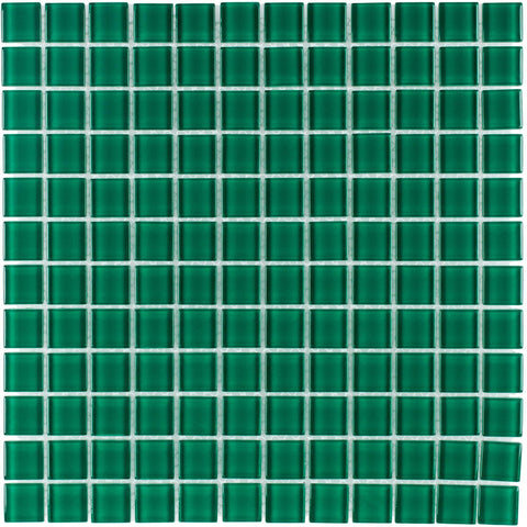 Front Modern Uniform Squares Green Glass Mosaic Tile