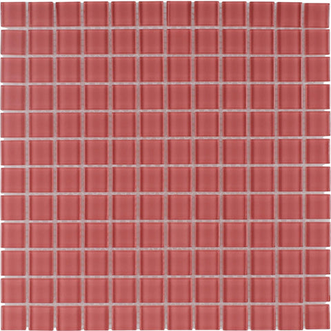 MTO0369 Modern 1X1 Stacked Squares Red Blend Glossy Glass Mosaic Tile - Mosaic Tile Outlet