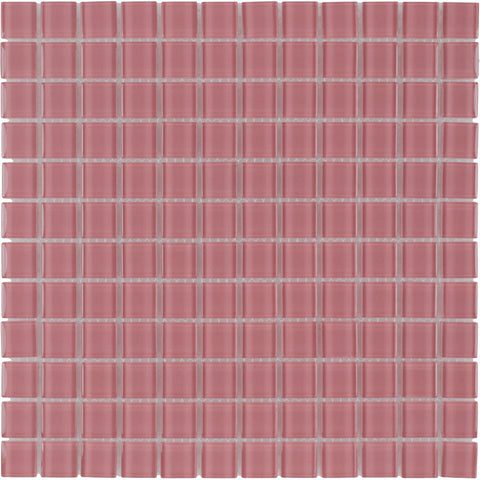 MTO0370 Modern 1X1 Stacked Squares Faded Red Blend Glossy Glass Mosaic Tile - Mosaic Tile Outlet