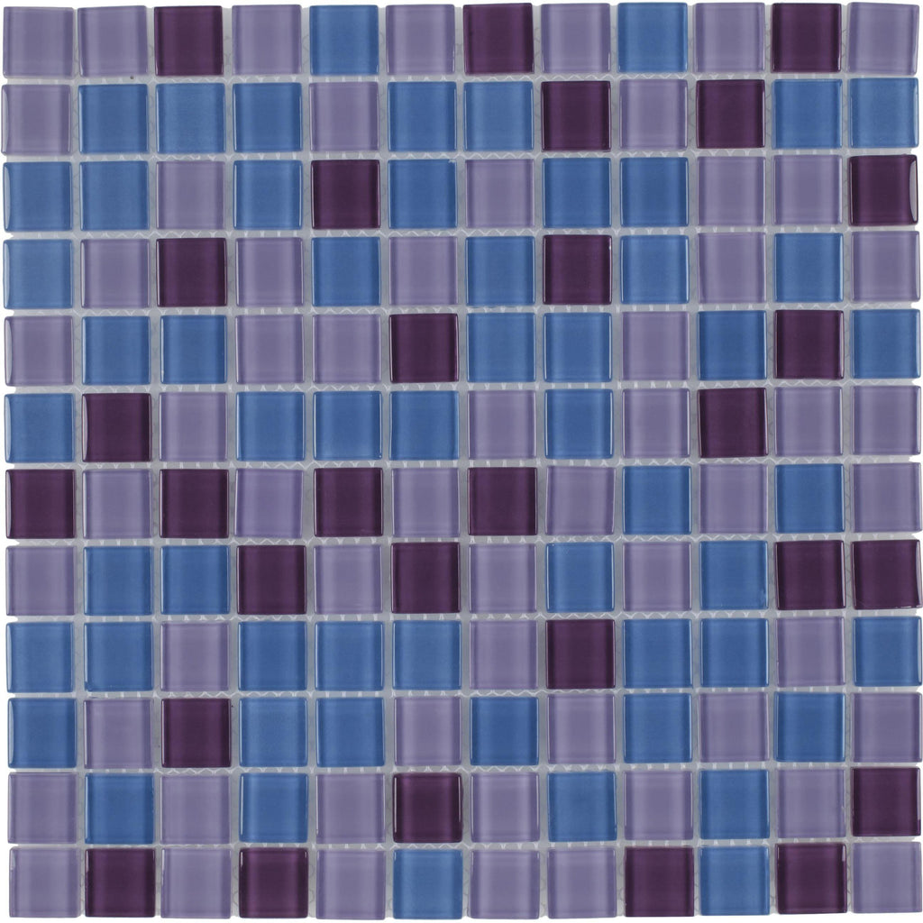 MTO0374 Modern Stacked Squares Blue Purple Glossy Glass Mosaic Tile