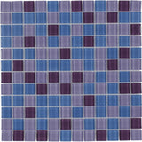 MTO0374 Modern 1X1 Stacked Squares Blue Purple Glossy Glass Mosaic Tile - Mosaic Tile Outlet