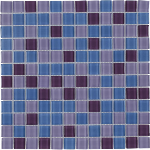MTO0374 Modern 1X1 Stacked Squares Blue Purple Glossy Glass Mosaic Tile