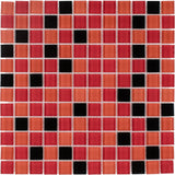 MTO0375 Modern 1X1 Stacked Squares Black Orange Red Glossy Glass Mosaic Tile