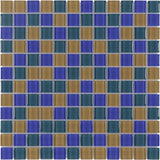 MTO0376 Modern 1X1 Stacked Squares Blue Green Orange Glossy Glass Mosaic Tile - Mosaic Tile Outlet