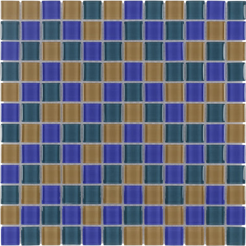 Front Modern Uniform Squares Blue Green Orange Glass Mosaic Tile