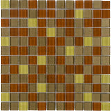 MTO0377 Modern 1X1 Stacked Squares Brown Red Yellow Glossy Glass Mosaic Tile - Mosaic Tile Outlet
