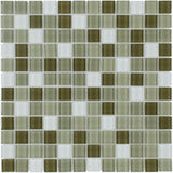 Front Modern Uniform Squares Green White Glass Mosaic Tile