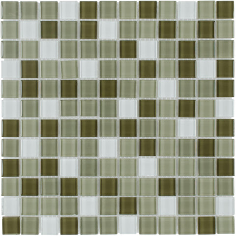 MTO0379 Modern Stacked 1X1 Squares Green White Glass Mosaic Tile - Mosaic Tile Outlet