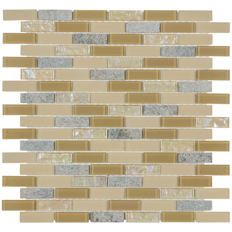 MTO0380 Linear Brick Beige Grey Gold Iridescent Metallic Glass Stone Mosaic Tile