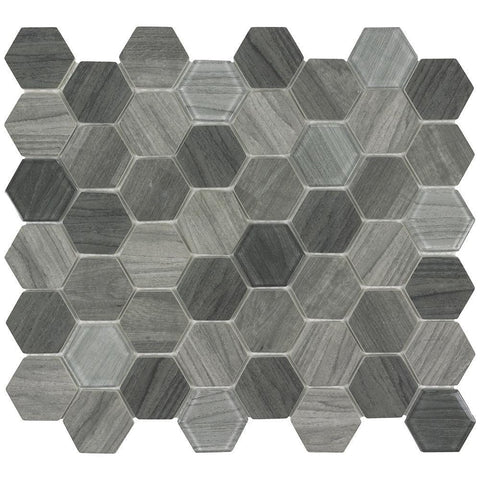 MTO0382 Modern Hexagon Grey Wood Grain Glass Mosaic Tile - Mosaic Tile Outlet