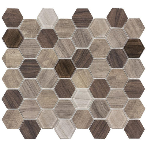 MTO0383 Classic Hexagon Brown Beige Wood Grain Glass Mosaic Tile - Mosaic Tile Outlet